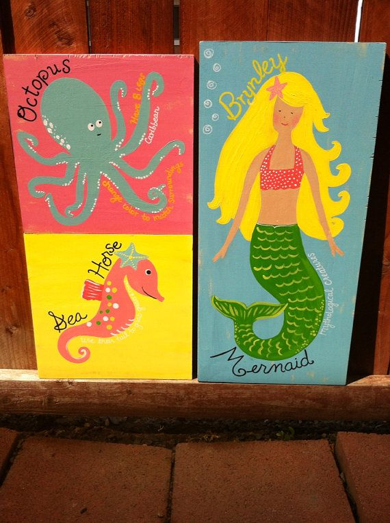 Mermaid, Octopus, Sea Horse (set of 3)- Customize Colors Available/ Ocean, Beach, Under the Sea, Surf Plaques on Etsy, $75.00