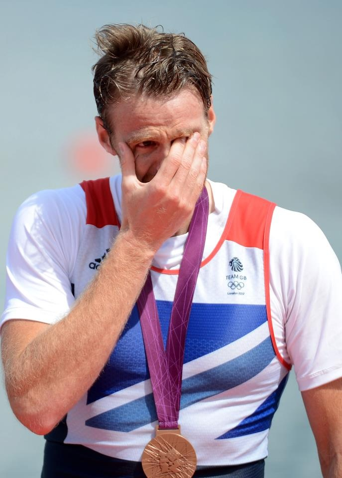 A tearful Alan Campbell after receiving his Bronze Medal in the Men's Single Scull rowing final.