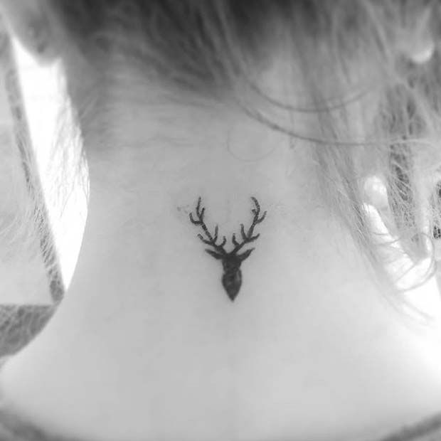 Small Antler Neck Tattoo Idea for Women