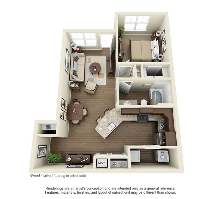 The Brookley at 762 square feet