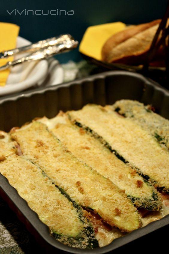 Zucchini, ham, cheese, crispity crunchity topping....drool.