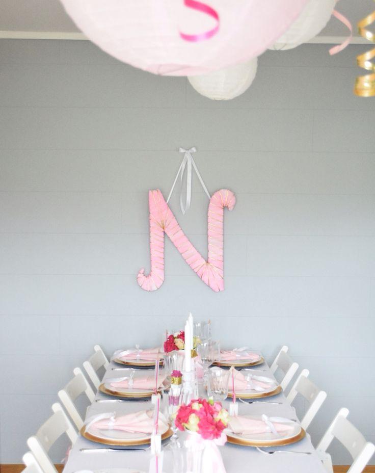 Pink baptism dåp cute diy  gold letter handmade
