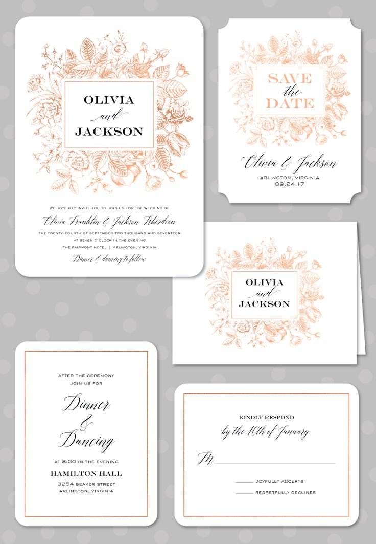 Boxed Blooms Foil Pressed Wedding Suite: Invitation, Save the Date, Folded Note, Reception Card, and Reply Card by Stacy Claire Boyd. Foil available in Rose Gold, Gold, Copper, Silver and Red.