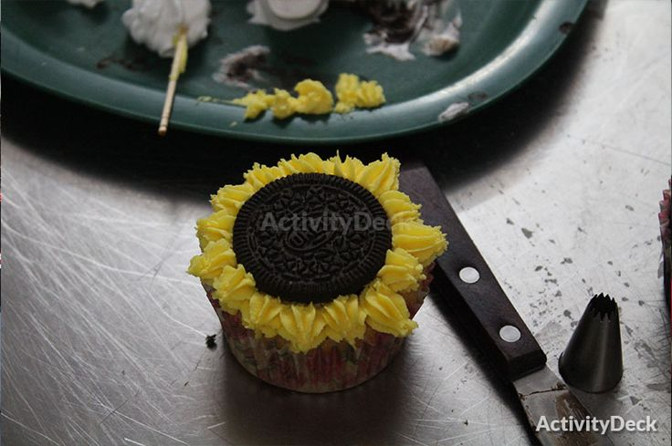 Sunflower oreo cupcake created during class