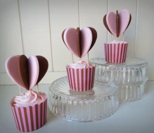 Heart Air Balloon Cupcake Topper Tutorial