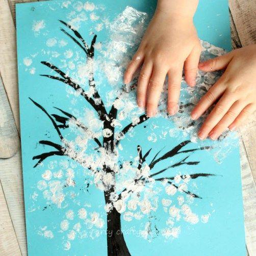Winter Bubble Wrap Tree Kids Craft - Arty Crafty Kids