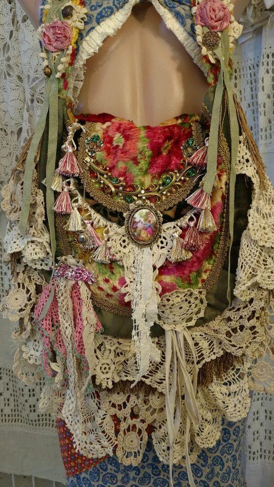 Handmade Shoulder Carpet Bag Fringe Vintage Lace Hippie Gypsy Boho Purse tmyers #Handmade #ShoulderBag
