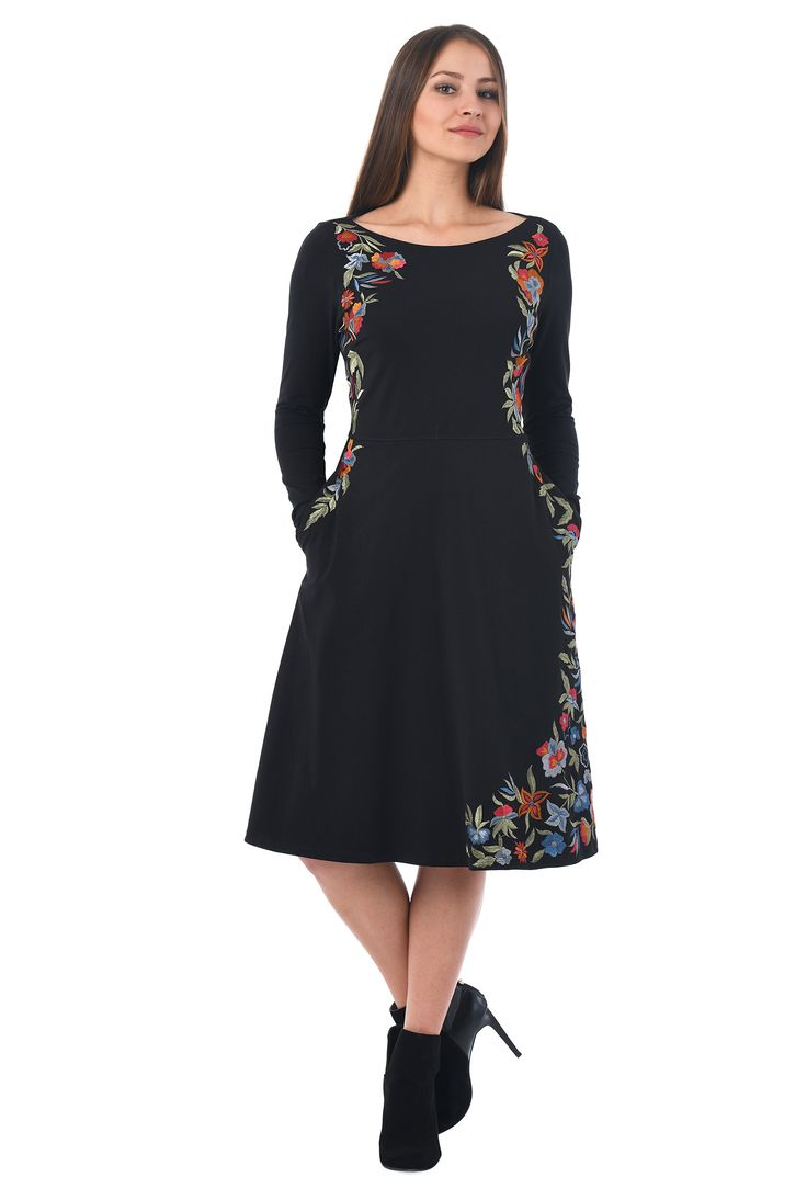 Beautiful embellished floral sides frame our cotton jersey knit dress designed with a boat-neck bodice and a flared skirt for day-to-night versatility.
