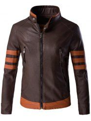 Zippered Stripe Spliced Faux Leather Jacket For Men (COFFEE,2XL) | Sammydress.com Mobile