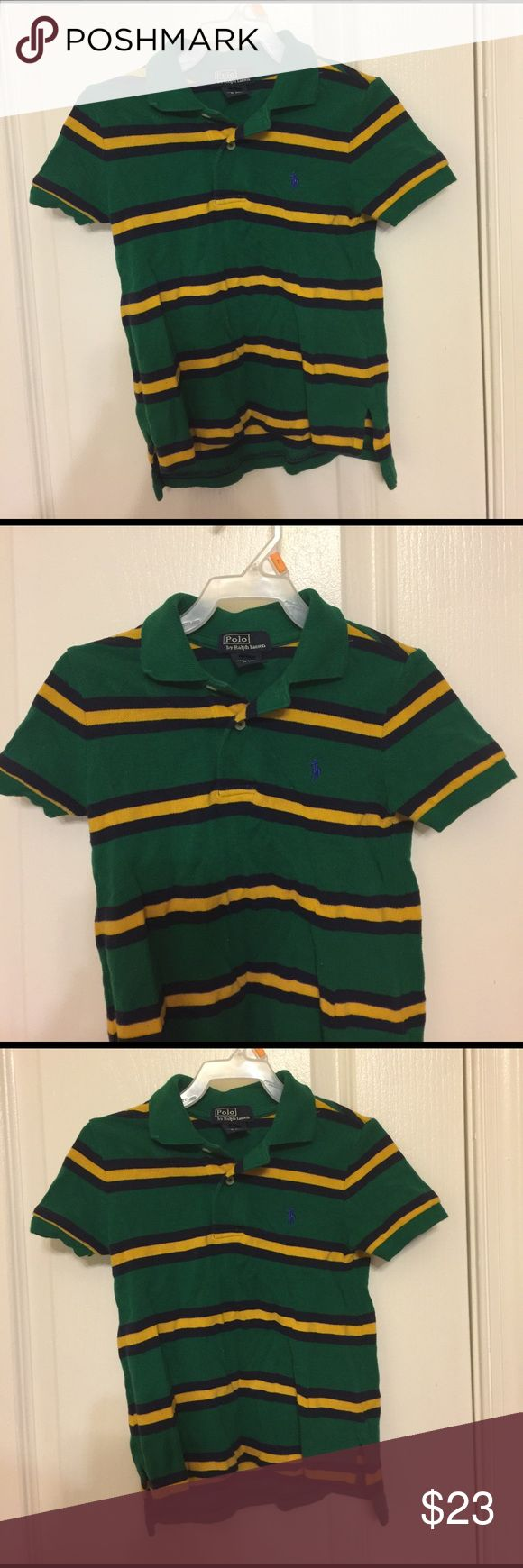 Ralph Lauren striped polo, toddler boy's 2T green Rugby inspired stripes give this version of Ralph Lauren 's iconic polo shirt a sporty twist. Ribbed polo collar front two button placket short sleeves with ribbed armbands signature embroidered pony at the left chest Tennis tail. Fairly used from a smoke and pet free and clean environment. Color: green/navy/yellow Polo by Ralph Lauren Shirts & Tops Polos