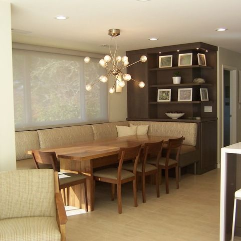 Fabric covered banquette design ideas pictures remodel for Dining room tables booth style