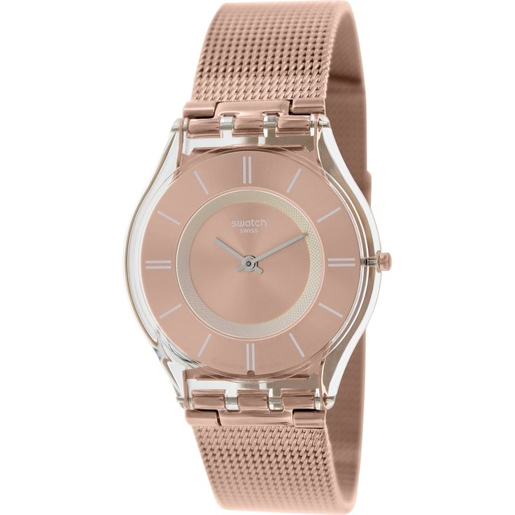 swatch womenus uskinu rosegold swiss quartz watch by swatch