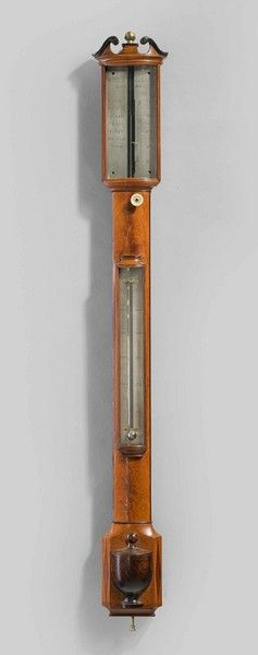A fine George III period bow fronted barometer by Thomas Rubergall ( 1802- 1854 ) of Coventry Street London in finely figured ebony strung case.