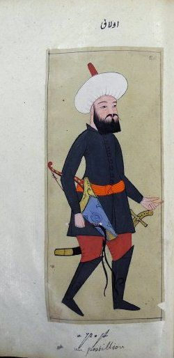 Ulak or tatar. Messenger or government courier who travelled on horseback. Carrying a whip. Wearing a dark green tunic, crimson trousers and high boots and the distinctive round head-dress, tatar kalpaği.