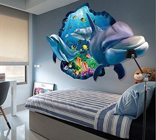 Coole Wanddekoration Mit 3d Effekt Dieses Wandtattoo Passt Perfekt In Ein Kinderzimmer Zum Thema Unterwasserwelt Kinderzimmer Dekor Coole Wanddekoration Dekor