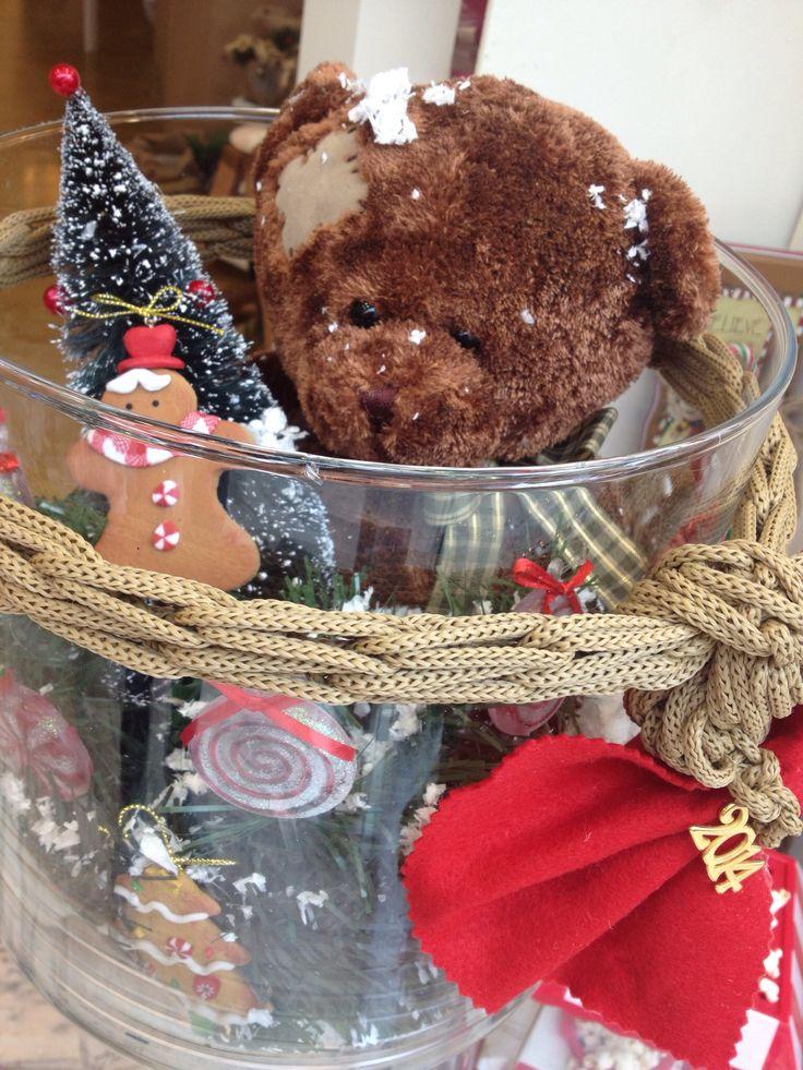 Χριστουγεννιάτικη γυάλα με αρκούδι & Lolipops... Handmade by Nikolas Ker