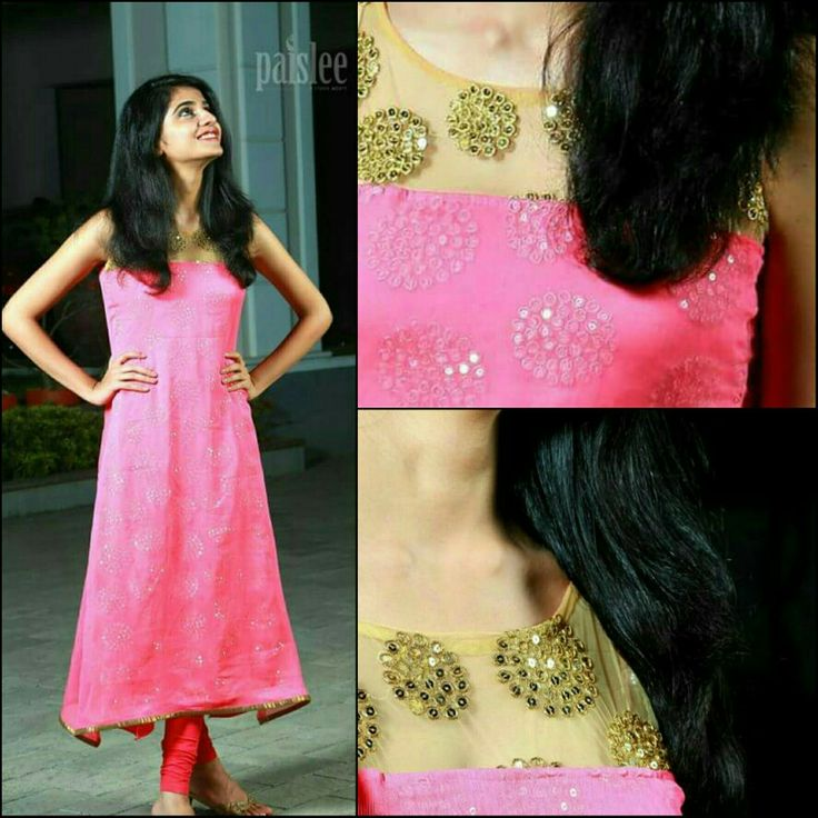 Ethnic wear | rose kurti with golden lace neck
