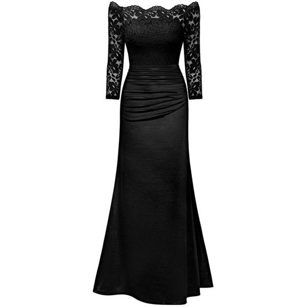 MIUSOL Women's Formal Evening Maxi 3/4 Sleeve Lace Dress,Off Shoulder... ($45) ❤ liked on Polyvore featuring dresses, gowns, off shoulder evening dress, lace evening dresses, evening dresses, evening maxi dresses and lace cocktail dress