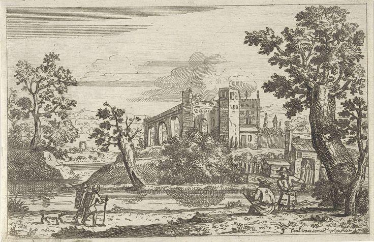 Paul van Somer (II) | Landschap met twee schetsende kunstenaars aan het water, Paul van Somer (II), 1670 | Twee kunstenaars zitten met een schetsboek aan het water. Aan de overzijde ligt de ruïne van een kasteel. Aan de waterkant staat een klein gebouw, waarin een figuurtje over een halve deur naar buiten kijkt. Twee wandelaars met een mars op hun rug lopen met hun hond over de weg.