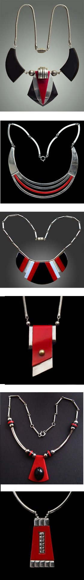 Jakob Bengel Art Deco necklaces, 1930s, Germany, Galalith plastic (similar to bakelite) and chrome. (Uploaded by Retroworx, most images from http://www.tademagallery.co.uk)