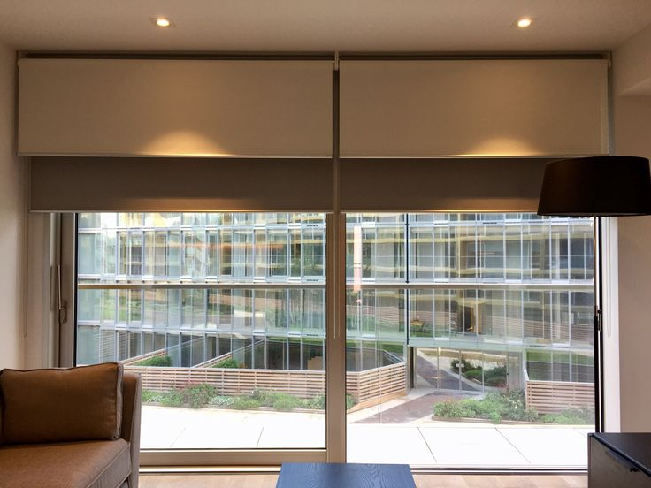 Double Dual Roller Blinds Showing The Sunscreen In Front Of Blackout