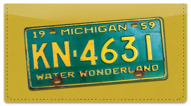 Michigan License Plate Checkbook Cover.