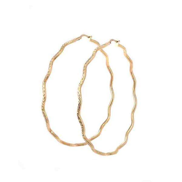 Σκουλαρίκια κρίκοι ζιγκ-ζαγκ  χρυσό Κ14-7254