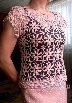 bluză de vară din motive.  Lucrul Elena Shevchuk tricotat și schema de croșetat