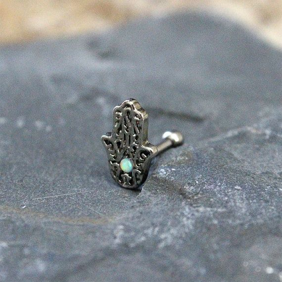 Hamsa Cartilage ring 16G, Opal Hamsa with surgical steel Barbell 16G, Helix ring, Ear lob, Tragus Ring,