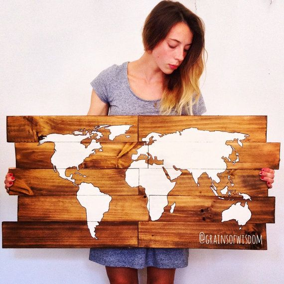 Wanderlust Wooden World Map Wall Art van GrainsOfWisdom op Etsy