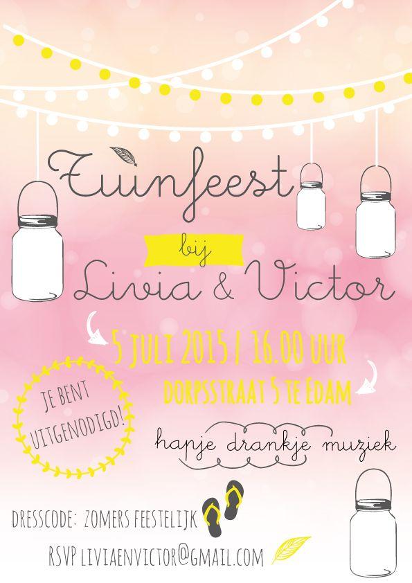 uitnodiging tuinfeest feest mason jar dresscode roze en geel party krijtperk