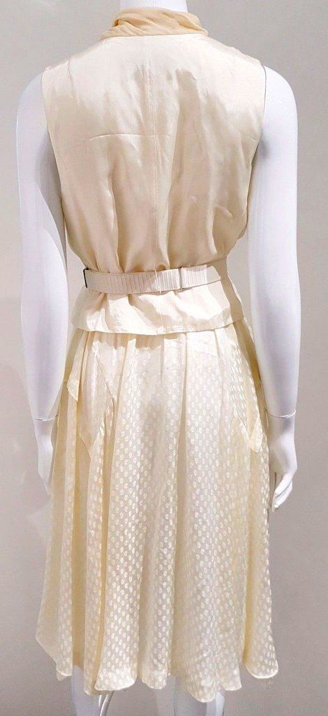 TOGA PULLA ARCHIVES. Japan. Ivory Cream Sleeveless Vest Top Scarf Silk Shirt Dress