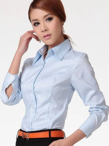 Office/Formal Cotton Purity Long Sleeve Button Down Shirt Blouse for Women Girl Ladies DCD-281299 - TinyDeal