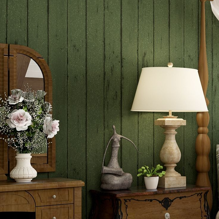 36.00$  Buy now - http://alit76.worldwells.pw/go.php?t=32637467080 - Vintage American Wooden Stripes Wallpaper Classic Retro Eco-friendly Green Wallpapers 3D Stereoscopic Papel de Parede