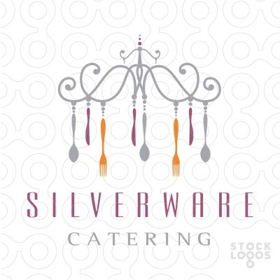 Logo for sale: creative and unique logo design of a simple stylized chandelier that is created with kitchen utensils