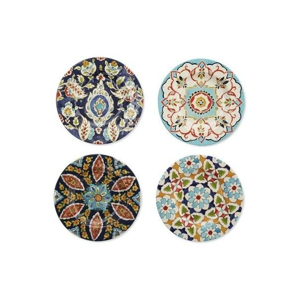 Williams-Sonoma Iznik Tile Melamine Salad Plates Set of 4 ($42) ❤ liked on Polyvore featuring home, kitchen & dining, dinnerware, outdoor dinnerware, green plate, williams sonoma dinnerware, outdoor plates and melamine salad plates