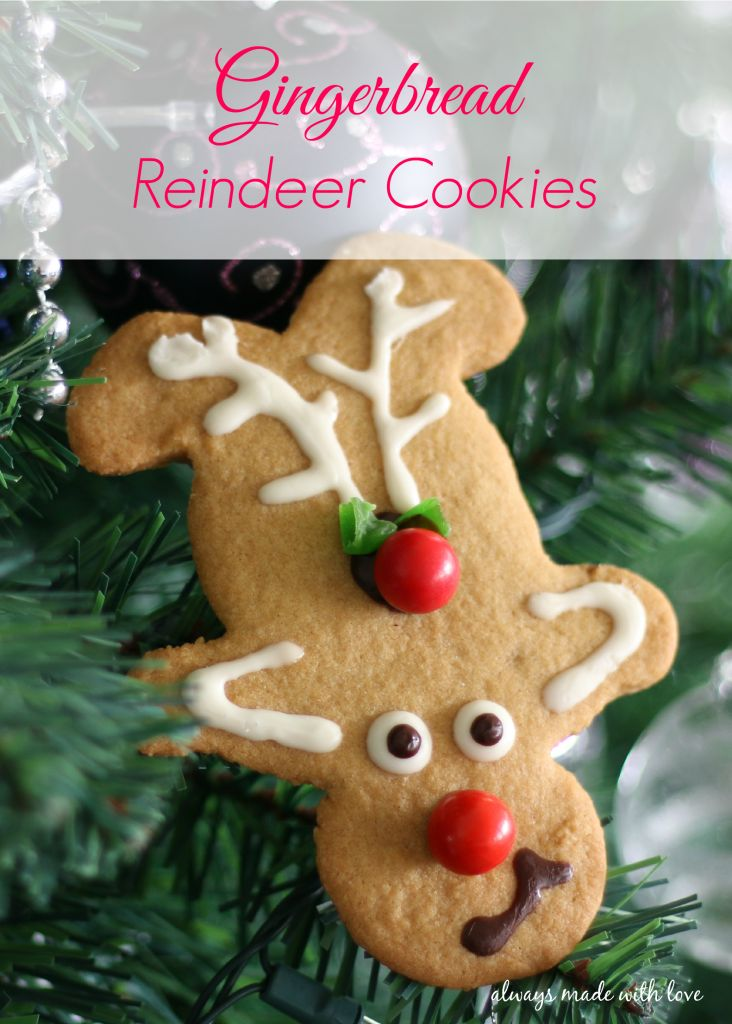 I love how cute these Gingerbread Reindeer Cookies look and how they smell just like Christmas. The best part is they are easy and fun to make as well.