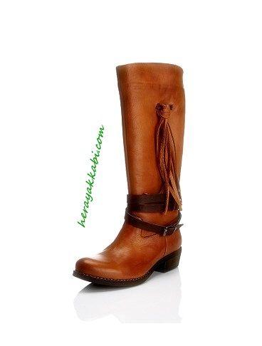 Elle 2015 Bayan Kahverengi Çizme Modelleri
