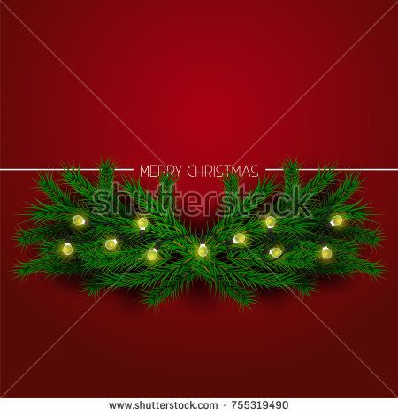 merry christmas illustration. colorful Christmas lights garland and Christmas balls on spruce branches