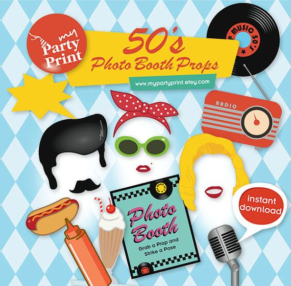 50s Party Printables Photo Booth Props by myPartyPrint