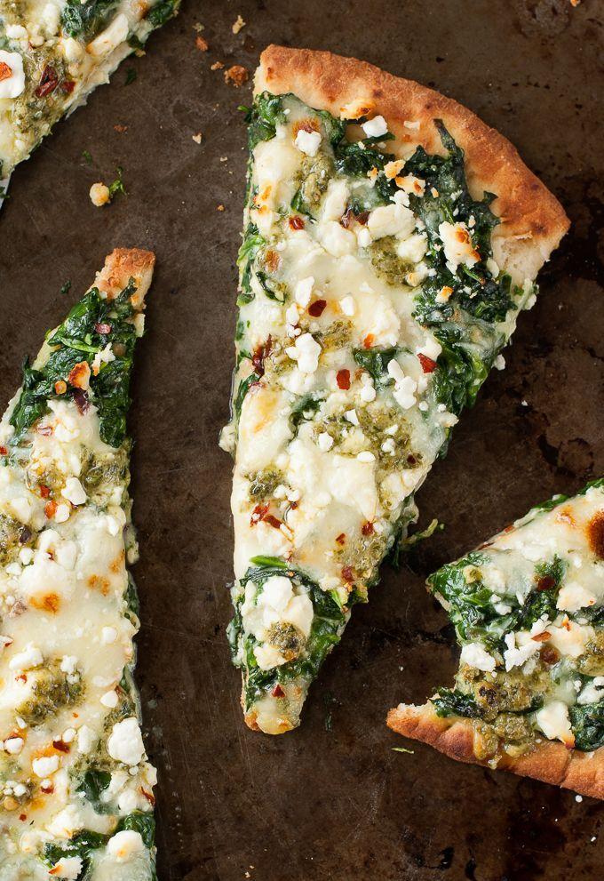 Three Cheese Spinach and Pesto Flatbread Pizza for One #pesto #pizza #recipe
