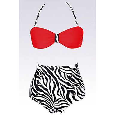Mujeres Rojas Pin up de talle alto Bikini – USD $ 16.19