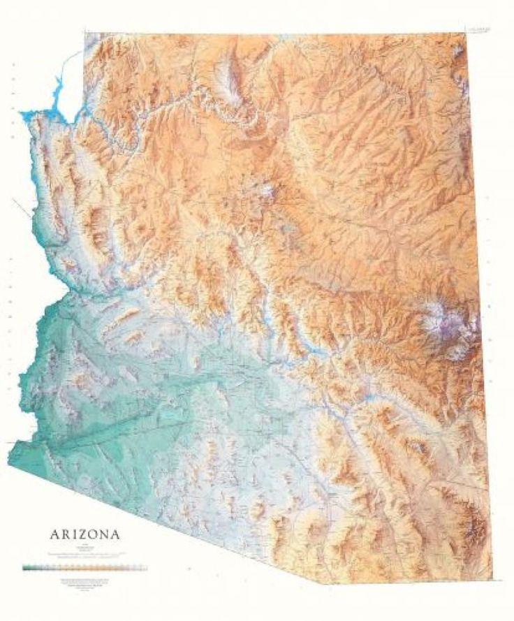 arizona physical laminated wall map by raven maps in on laminated wall maps id=14344
