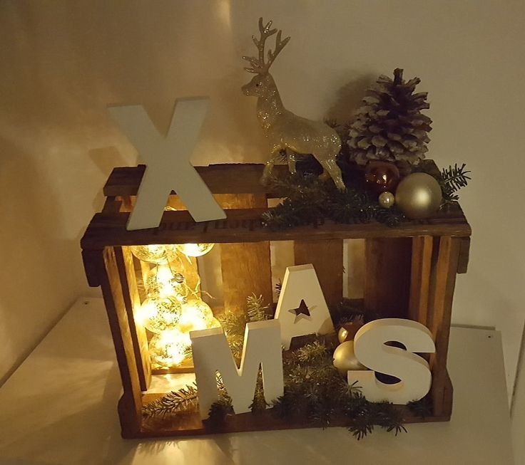 X-Mas Christmas Deco Wine Crate Wooden Box – X-Mas   – Deko Wohnung…!!!