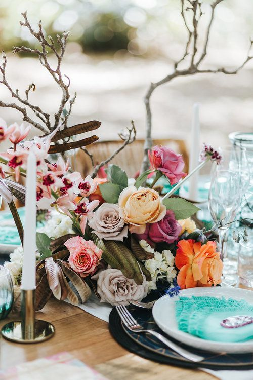 Bloodwood Botanica | Bohemian bright wedding table flowers