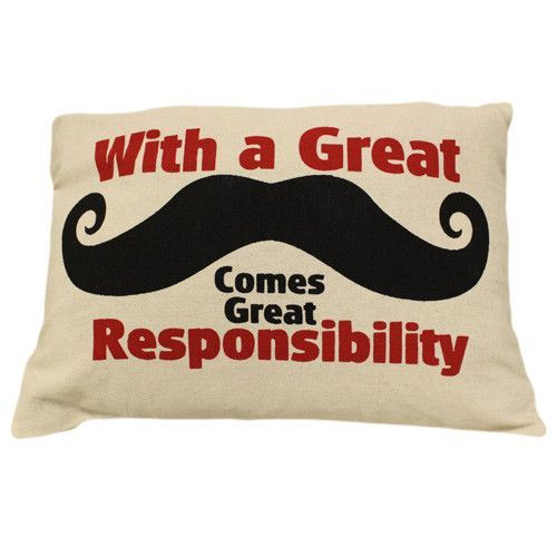 Size approx. 38x25cm. Closes with a zip. Material: Cotton Canvas. Quote: With a Great Mustache Comes Great Responsibility