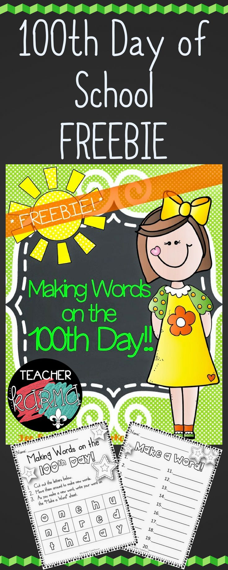 100th Day of School FREEBIE - Making Words on the 100th Day of School - Reading resource - TeacherKarma.com
