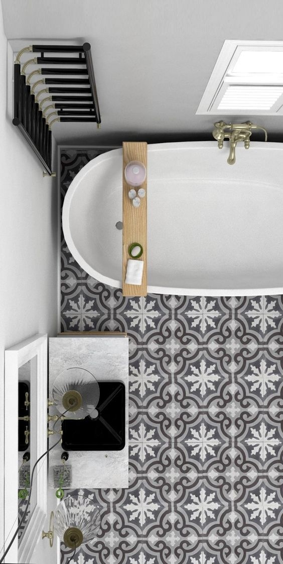 12 Grey And White Porcelain Tiles Create An Eye Catchy Touch In This  Bathroomu2026 Part 93