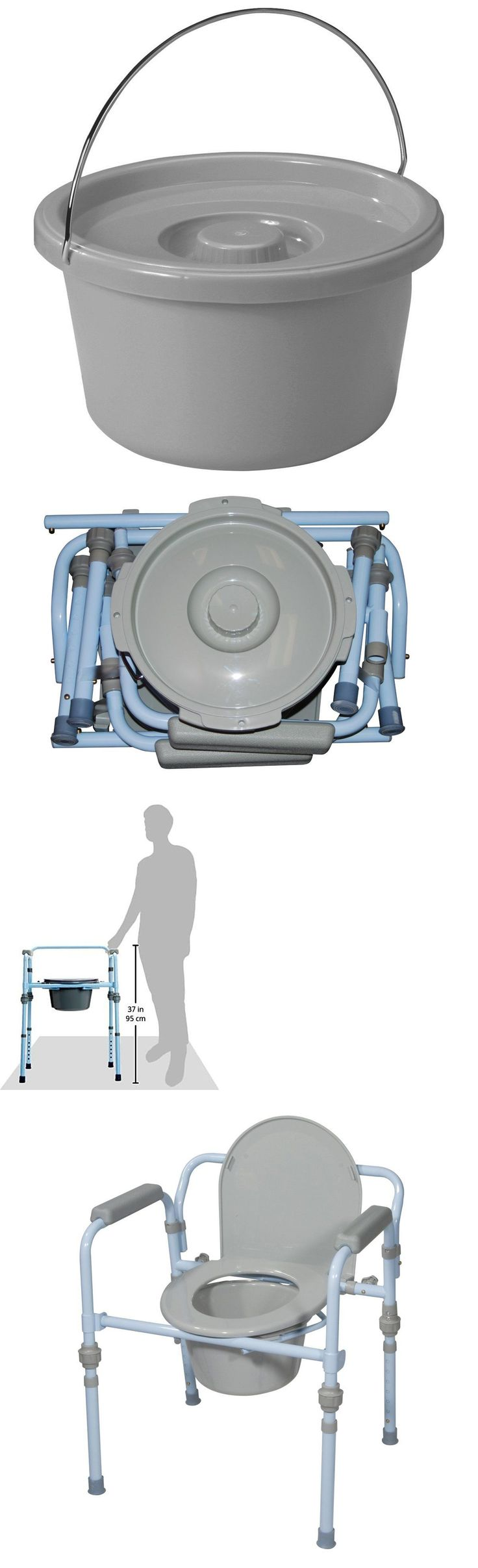 Portable commode folding bedside handicap adult toilet potty chair - Toilet Frames And Commodes Folding Commode Bedside Handicapped Toilet Seat Bucket Portable Safety Chair New
