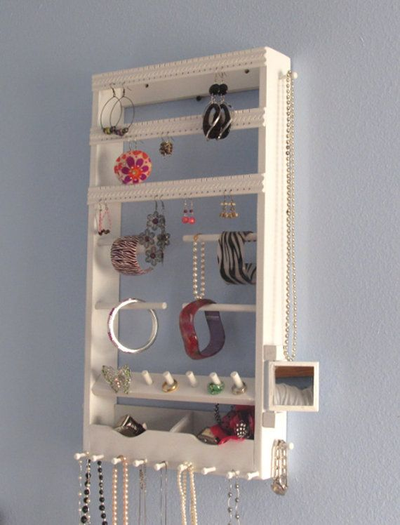 Jewelry Organizer with Mirror  Wall Mounted  Organize by JDisplay, $69.95